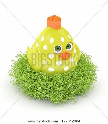 3D Render Of Easter Chick In Nest