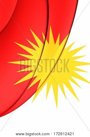the Yezidi Flag. 3D Illustration. Front View.