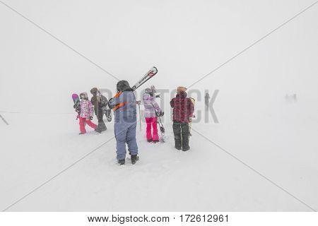 Yamakata, Japan - February 7, 2017: People at Rope-way in winter Zao ski moutain, Yamagata Japan