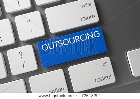 Outsourcing Concept Aluminum Keyboard with Outsourcing on Blue Enter Key Background, Selected Focus. 3D Render.
