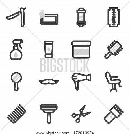 Set of vector icons on the theme of accessories for haircuts, styling for the beauty salon or the shaving of beards and mustaches.