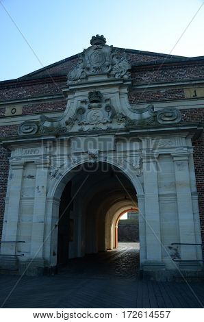 A view of the entrance archway into Kronborg castle