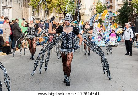 Carnival groups and costumed characters parade through the streets of the city. FEBRUARY 19 2017 Torrevieja Spain.