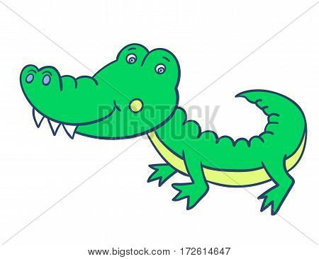 Cute green smiling crocodile on a white background. Funny character. Vector illustration of African wild animals. Can be used for children s books, cards.