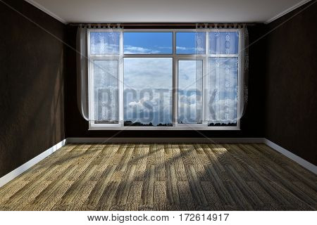 3d rendering of empty unfurnished livingroom with rustic wooden floor and grunge wall covering
