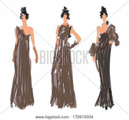 Sketch Fashion Women Models - vector illustration