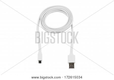White usb-cable micro usb isolated on white background