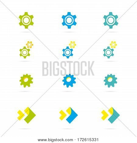 Industrial vector logo design concept. Gear shape with wrench symbol. Unique logotype for repair or service and maintenance business. Corporate icon template with tools silhouette.