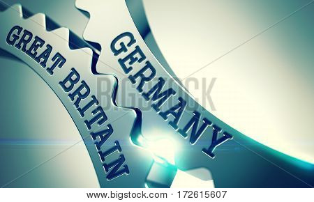 Germany Great Britain on the Shiny Metal Cog Gears, Communication Illustration with Glowing Light Effect. Germany Great Britain - Illustration with Glow Effect. 3D.