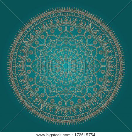 beautiful round mandala in ethnic style with natural elements