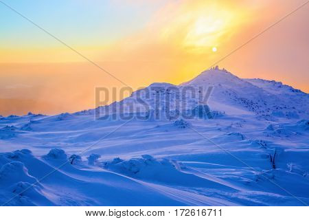 The marvelous landscape is opened to sunset and rose sky from the lawn full of nice snowy trees.