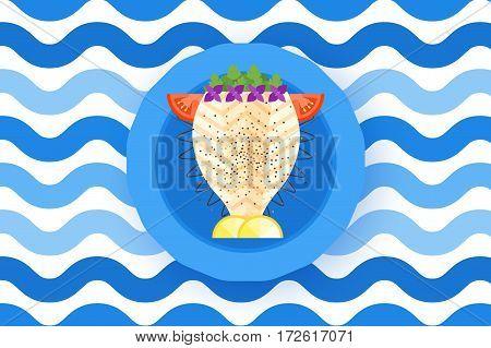 Cute Cooked Halibut Flounder Flatfish Vector Illustration.