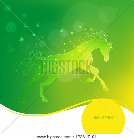 Time of year - summer. Brightly glowing vector illustration of a galloping horse. Juicy yellow green background. Design elements