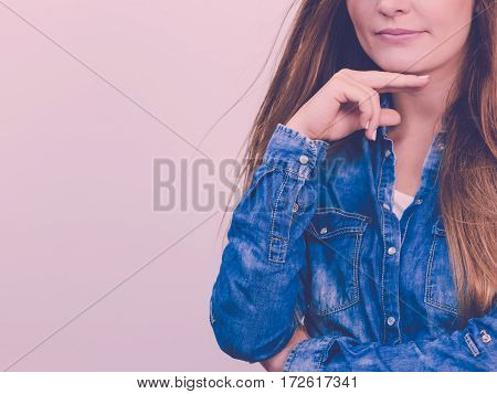 Pensively Girl With Blue Shirt.