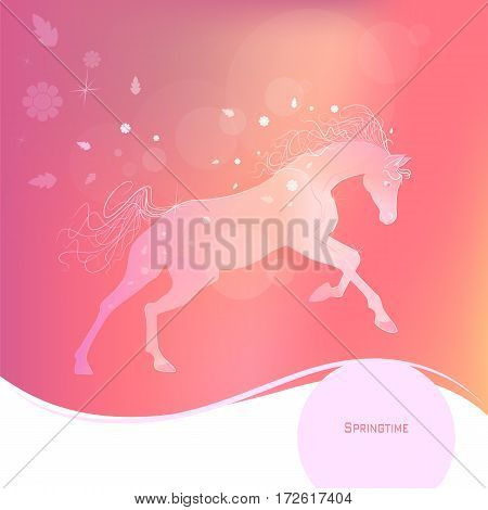 Time year - spring. Delicate glowing vector illustration of a galloping horse. Gentle pink yellow background. Design elements