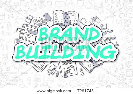 Cartoon Illustration of Brand Building, Surrounded by Stationery. Business Concept for Web Banners, Printed Materials.