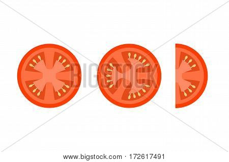 Tomato Slices Flat Vector Icons For Food Decor.