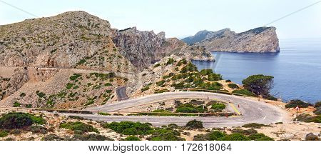 Winding road on cape Formentor. Island Majorca Spain.