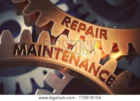 Repair Maintenance on Mechanism of Golden Metallic Cog Gears with Lens Flare. Repair Maintenance - Concept. 3D Rendering.