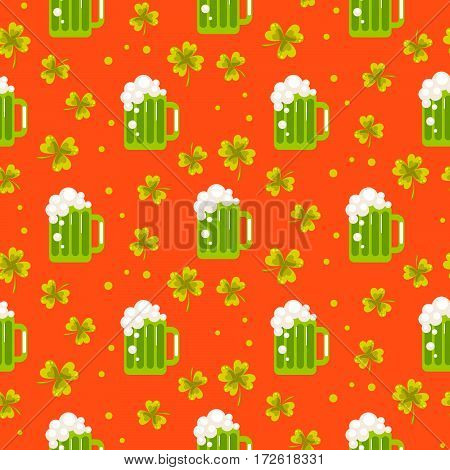 Irish St. Patrick seamless vector pattern. Green beer ale and clover leaves tileable orange background.