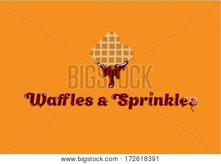 Waffles and Sprinkles logo. Tasty Belgian Waffle logo design. Vector illustration