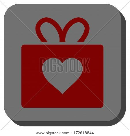 Love Gift square icon. Vector pictogram style is a flat symbol on a rounded square button dark red and black colors.