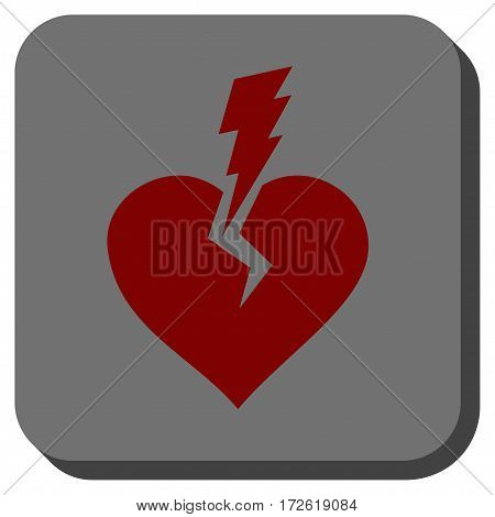 Love Heart Crash interface button. Vector pictograph style is a flat symbol inside a rounded square button dark red and black colors.