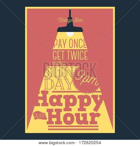 Happy Hour Typographic Poster Design With A Beam Of Light. Vector Graphic.