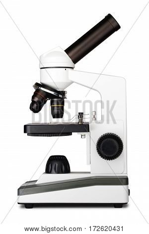 Microscope isolated on white& medical instrument  equipment