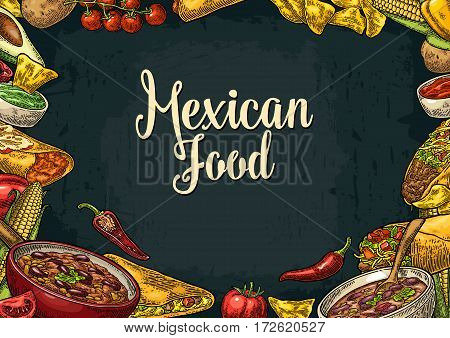 Mexican traditional food restaurant menu template with Guacamole Quesadilla Enchilada Burrito Tacos Nachos Chili con carne and ingredient. Vector vintage engraved illustration on dark background