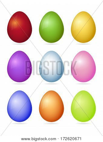 Set Of Nine Photorealistic Colorful Vector Easter Eggs With Shadow Isolated On A White Background.