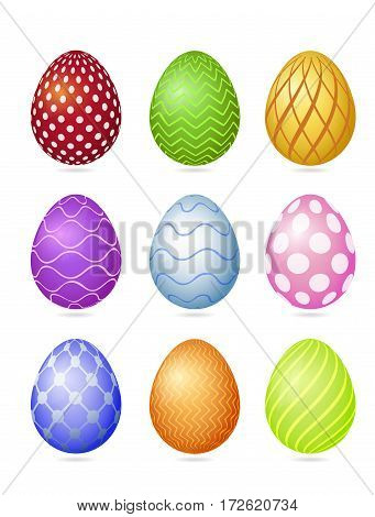 Set Of Nine Photorealistic Colorful Vector Easter Eggs With Very Simple Patterns And Shadow Isolated