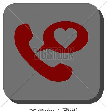 Love Phone Message toolbar icon. Vector pictogram style is a flat symbol inside a rounded square button dark red and black colors.