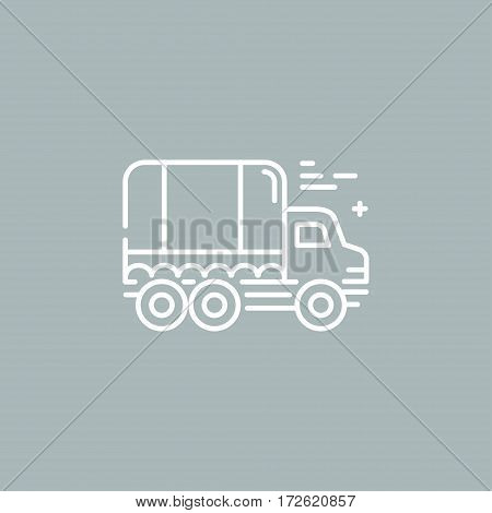 Line style logotype template with truck, cargo, freight vehicle. Easy to use business template.