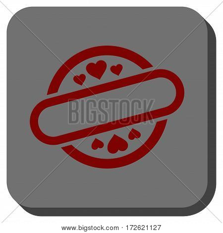 Love Stamp Seal toolbar icon. Vector pictograph style is a flat symbol on a rounded square button dark red and black colors.