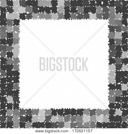 Abstract frame with rough jagged edges. Gray photo frame. Place for text. Vector