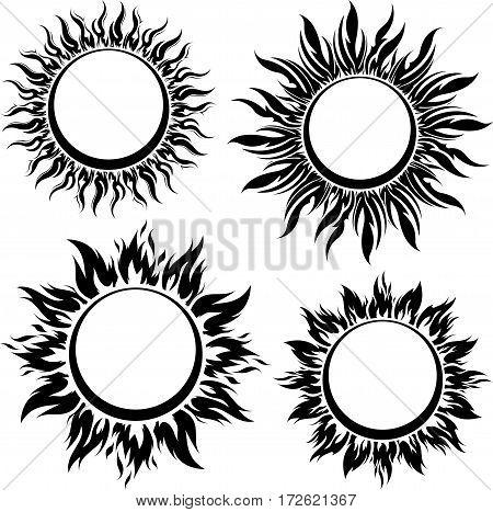 Set of decorative vector black sun symbols with long rays