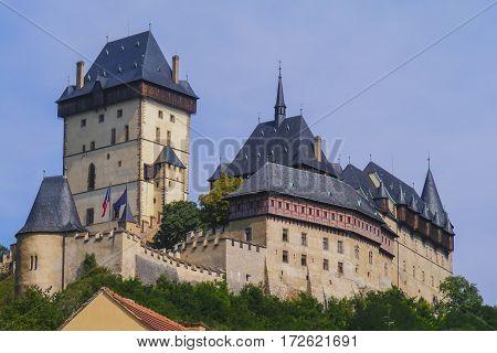 Karlstein castle in Czech republic on sunny day.