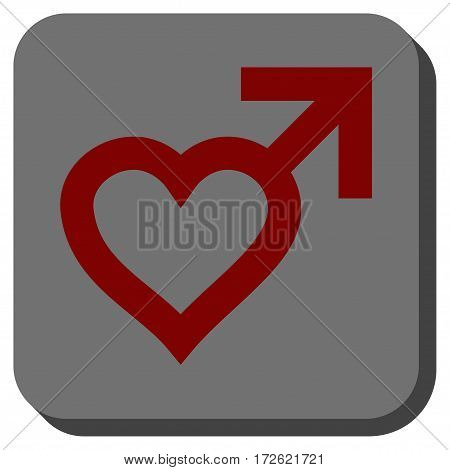 Male Heart square button. Vector pictogram style is a flat symbol on a rounded square button dark red and black colors.