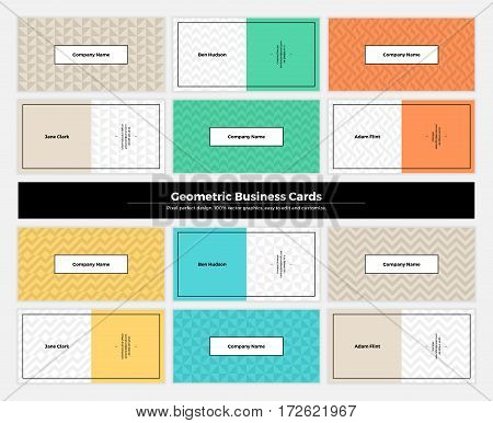 Geometric business cards with pattern background. Modern clean design geometry texture. Vector abstract branding kit with minimalistic seamless shapes for brand presentation web print package.
