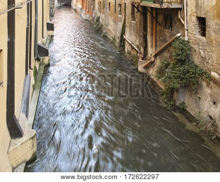 Detail of channel river in bologna italy