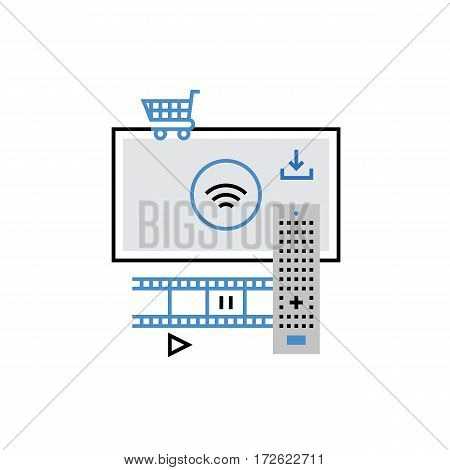 Modern vector icon of smart tv technology online cinema buying media content. Premium quality vector illustration concept. Flat line icon symbol. Flat design image isolated on white background.
