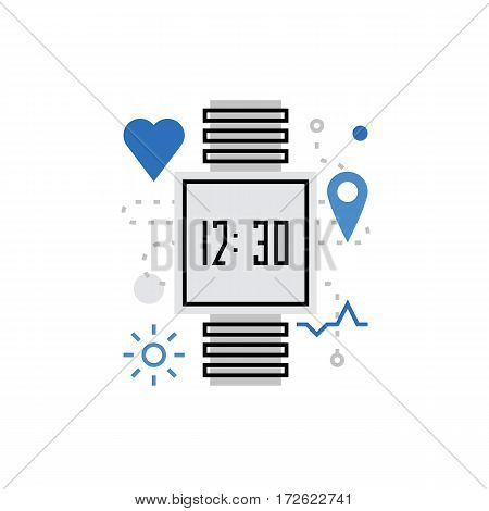 Modern vector icon of smart watch fitness tracker wearable gadget tech wear. Premium quality vector illustration concept. Flat line icon symbol. Flat design image isolated on white background.