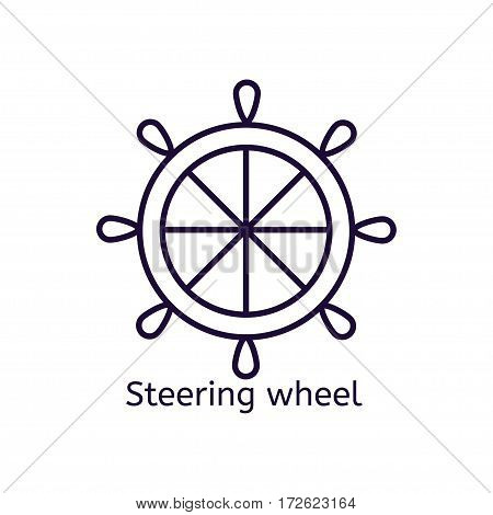 Vector icon of steering wheel on a white background. Thin line icon for web site, visit card, poster, banner etc.