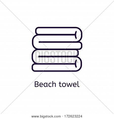 Vector beach towel icon on a white background. Thin line icon for web site, visit card, poster, banner etc.