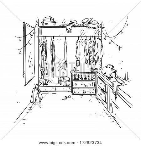 walk-in closet, cloackroom drawing. Interior vector sketch.