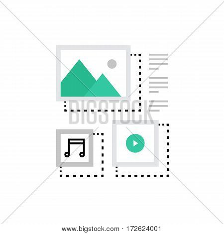 Modern vector icon of content management system blogging and multimedia files. Premium quality vector illustration concept. Flat line icon symbol. Flat design image isolated on white background.