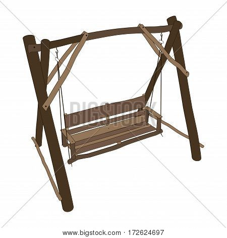 Vector wooden bench swing isolated white background.