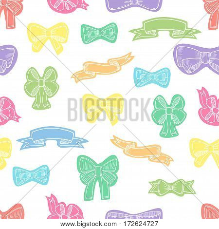 Doodle style banner, sketch ribbons and bows on white background. Vector seamless pattern.