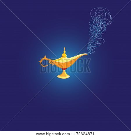 Vector Magic Lamp of Aladdin on a dark background
